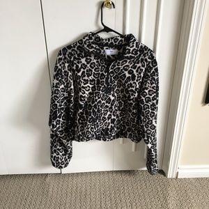 TNA snow leopard print polar fleece 1/2 zip